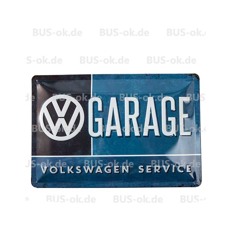 Blechschild gew lbt volkswagen garage mittelgro bus ok for Garage volkswagen le landreau