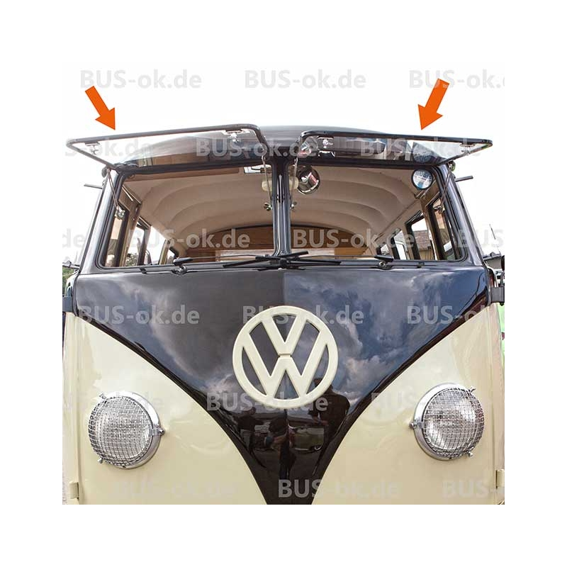 t1 safari fenster vorne aluminium poliert komplettsatz t1 bus. Black Bedroom Furniture Sets. Home Design Ideas