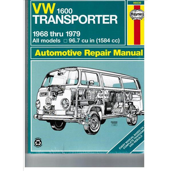 Haynes Automotive Repair Manual 1,6 L T2 08/67 -05/79