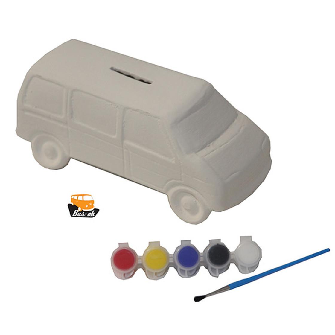 t4 spardose zum selbst bemalen set mit farben und pinsel bus 16 50. Black Bedroom Furniture Sets. Home Design Ideas