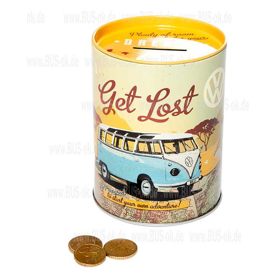 Money box Type2 split Bulli tin Let´s get Lost Theme
