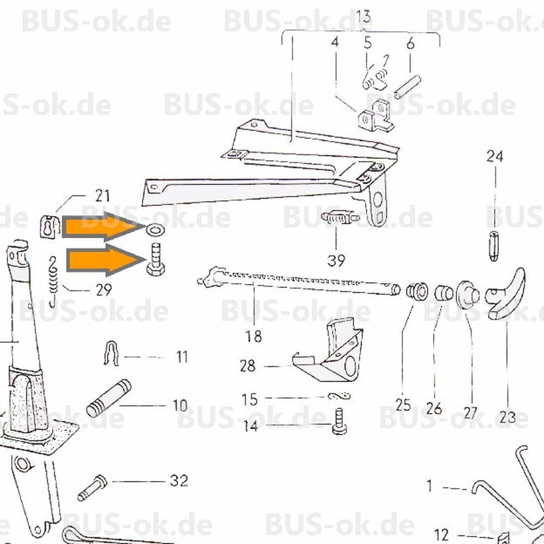 Type2 bay screw set for support handbrake lever OEM partnr. N ...