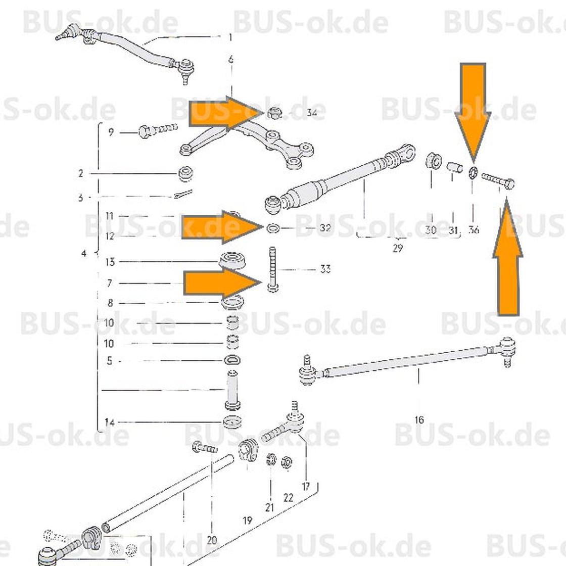 Type2 bay mounting kit steering damper OEM partnr. N0104403 N0121113 ...