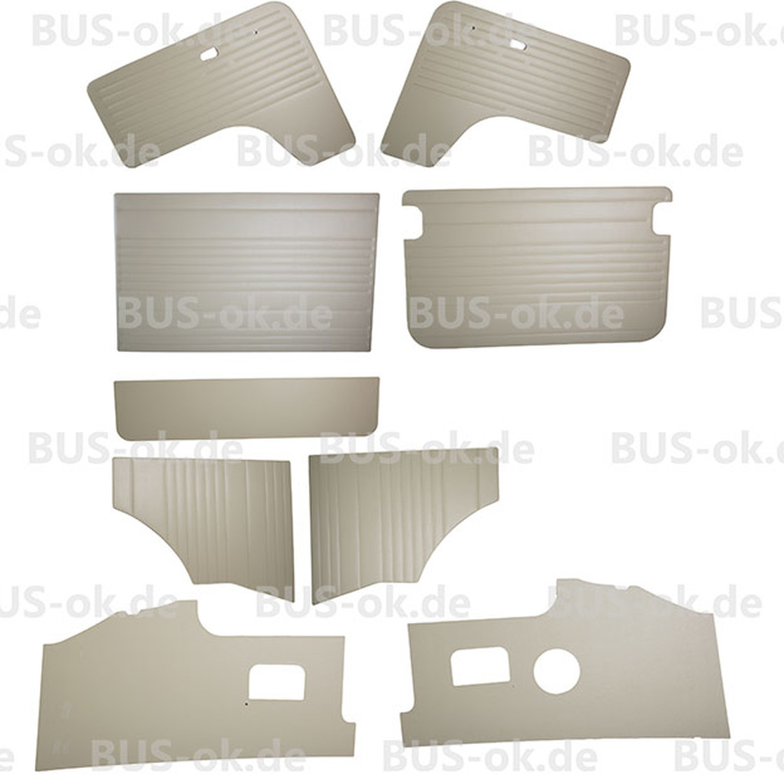 Type2 Bay Window Door Panels Complete 9 Pc Vinyl Smooth