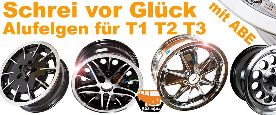 Alufelgen mit ABE für VW Bus T1, T2 und T3