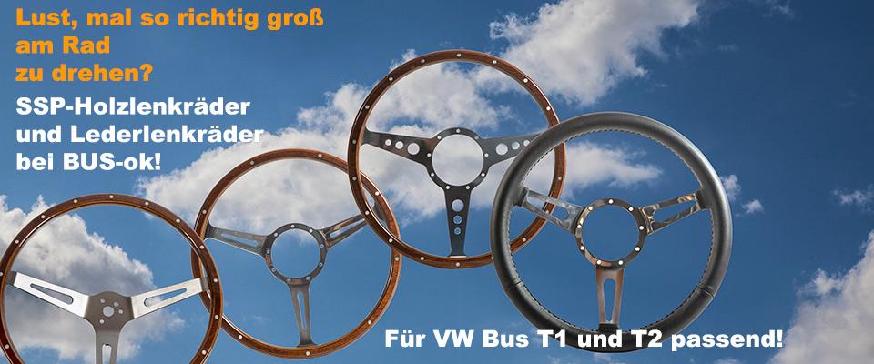 Holzlenkräder und Lederlenkrad für VW Bus T1